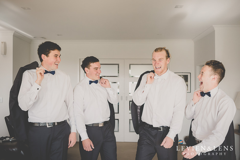 groom with groomsmen getting ready St Margarets Cafe - Karaka {Auckland lifestyle wedding photographer}