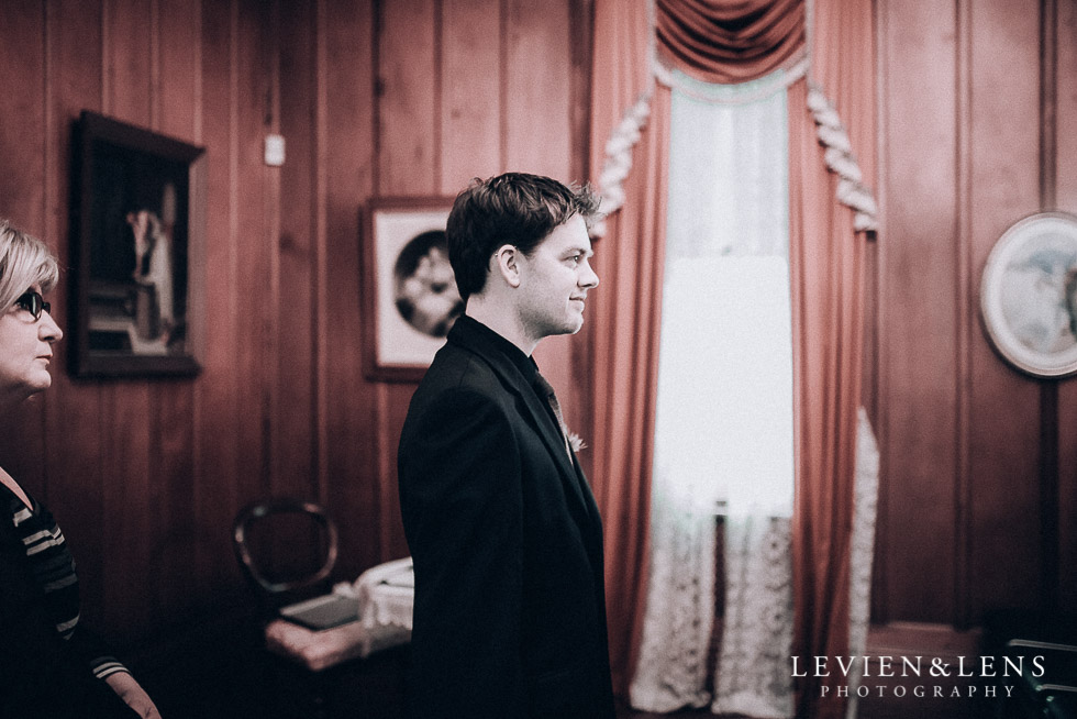 groom at ceremony - Highwic historic house-museum winter wedding {Auckland NZ lifestyle weddings photographer}