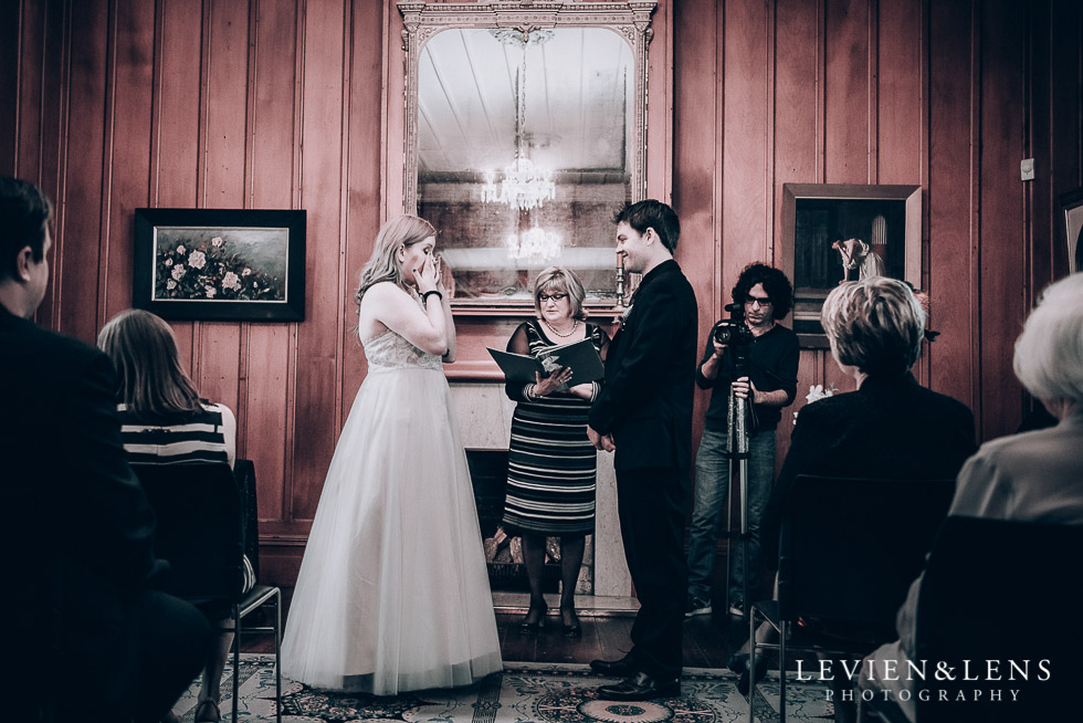bride and groom at ceremony - Highwic historic house-museum winter wedding {Auckland NZ lifestyle weddings photographer}