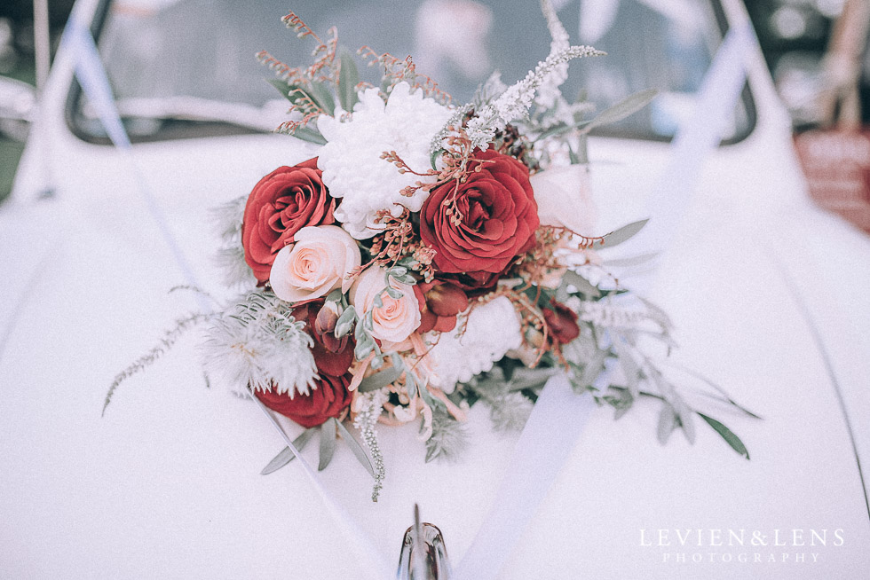 bouquet on retro car - Highwic historic house-museum winter wedding {Auckland NZ lifestyle weddings photographer}