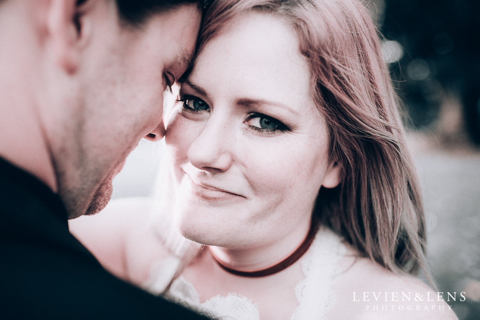 bride smiling - Cornwall park photo session - winter wedding {Auckland NZ lifestyle weddings photographers}