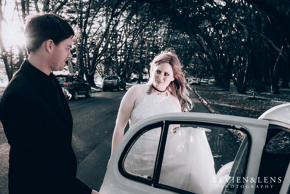couple near the car - Cornwall park photo session - winter wedding {Auckland NZ lifestyle weddings photographers}