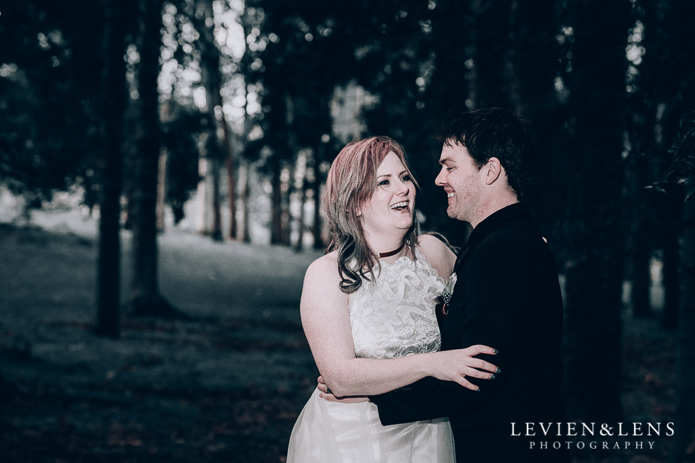 bride laughing - Cornwall park photo session - winter wedding {Auckland NZ lifestyle weddings photographers}