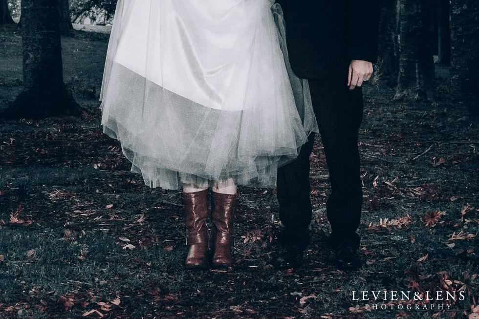bride and groom shoes - Cornwall park photo session - winter wedding {Auckland NZ lifestyle weddings photographers}