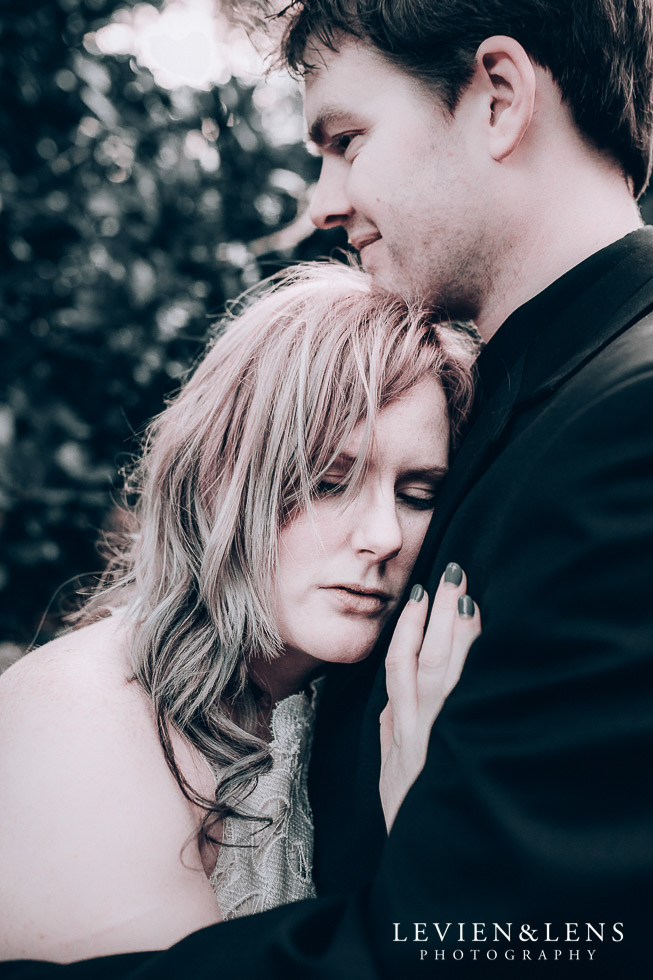 bride and groom intimate moment - Cornwall park photo session - winter wedding {Auckland NZ lifestyle weddings photographers}