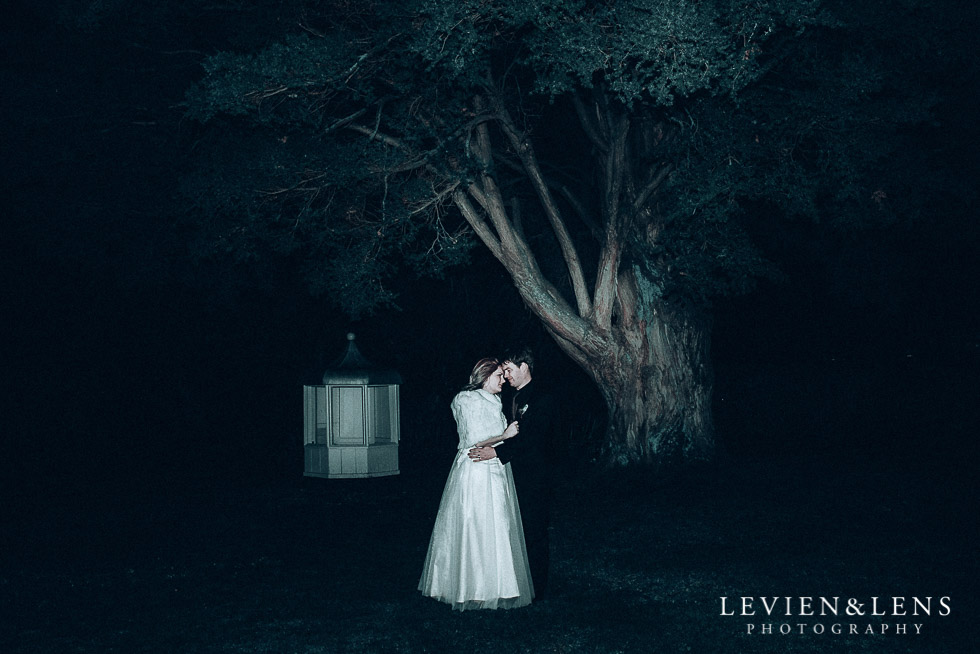 night photo session with bride and groom - Highwic historic house-museum winter wedding {Auckland NZ lifestyle weddings photographer}