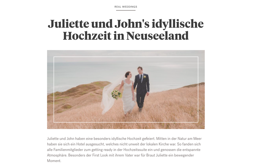 New international publication in German magazine Hochzeitsplaza {New Zealand wedding photographer}