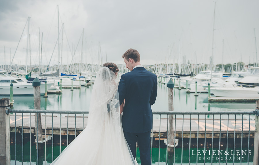 couple standing at pier {Auckland wedding photographer}