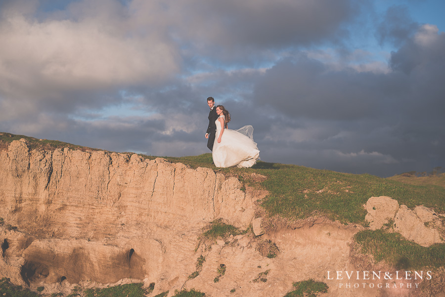 couple on beautiful landscape {Auckland wedding photographer} Castaways