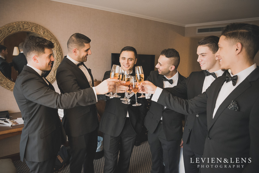 groom with groomsmen - Langham Hotel Wedding {Auckland-NZ weddings photographers}