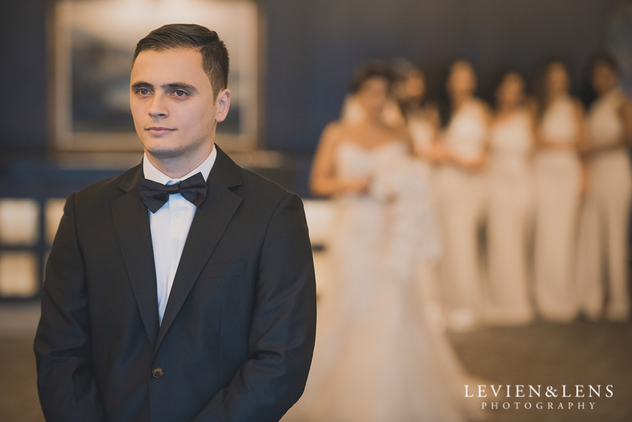 first look - groom waiting - Langham Hotel Wedding {Auckland-NZ wedding photographer}
