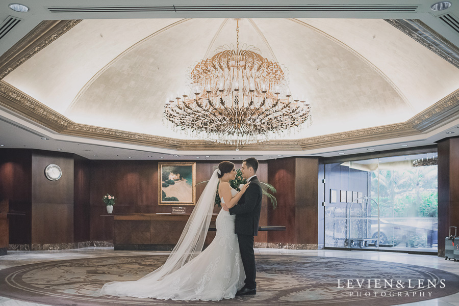 bride and groom at lobby - Langham Hotel Wedding {Auckland-NZ wedding photographer}