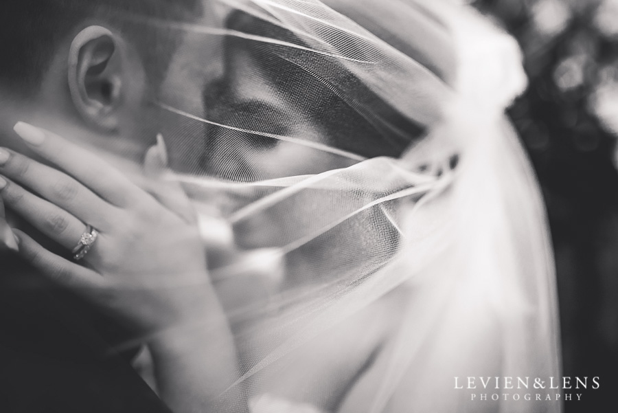 under veil - bride and groom intimate session outside - Langham Hotel Wedding {Auckland-NZ wedding photographer}