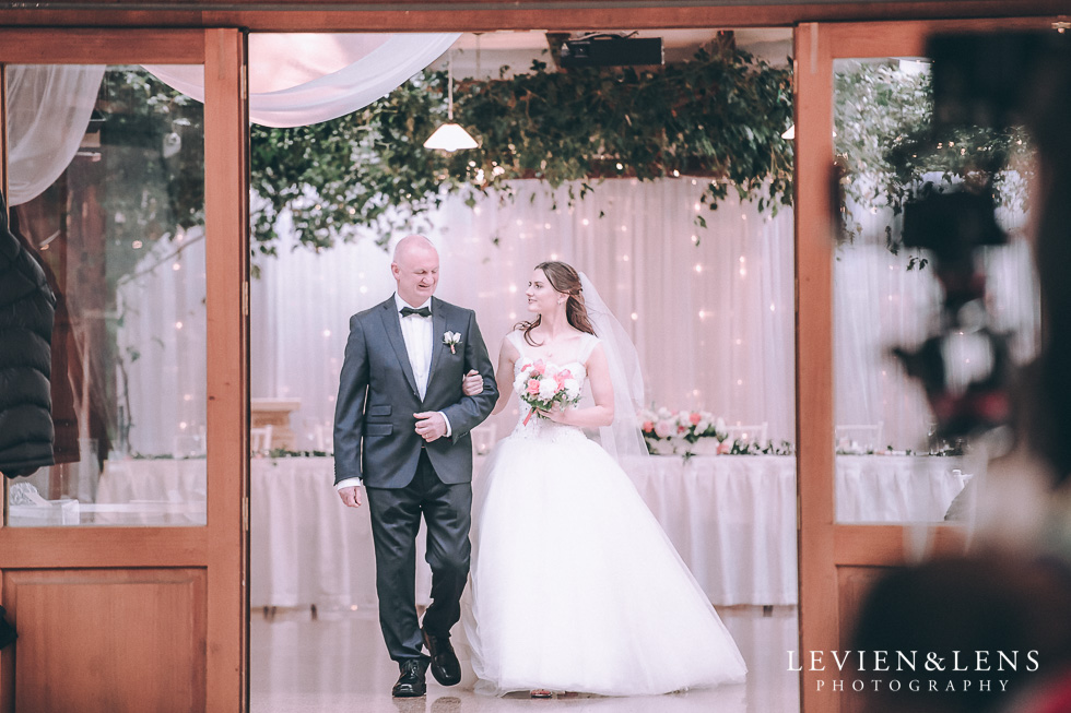bride with father walking down aisle - Markovina Vineyard Estate - Kumeu {Auckland wedding photographer}