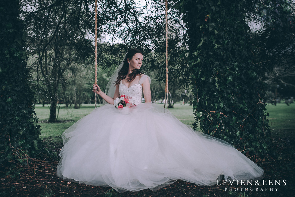 bridal portraiture - bride on swing - Markovina Vineyard Estate - Kumeu {Auckland wedding photographer}