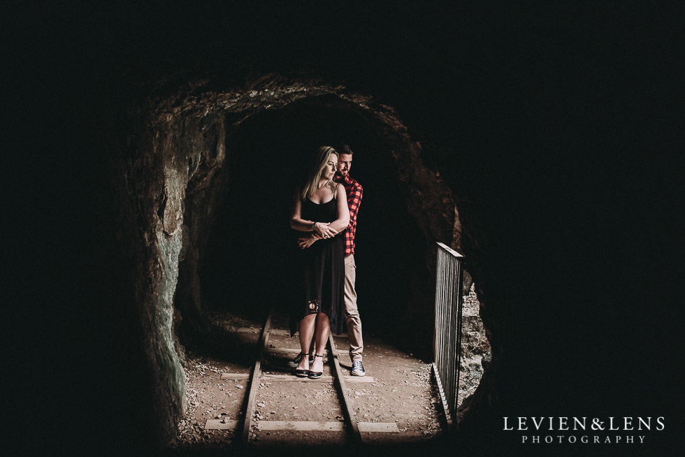 light pocket - mine tunnel - Karangahake George engagement | couples photo shoot {Auckland-Waikato wedding photographer}