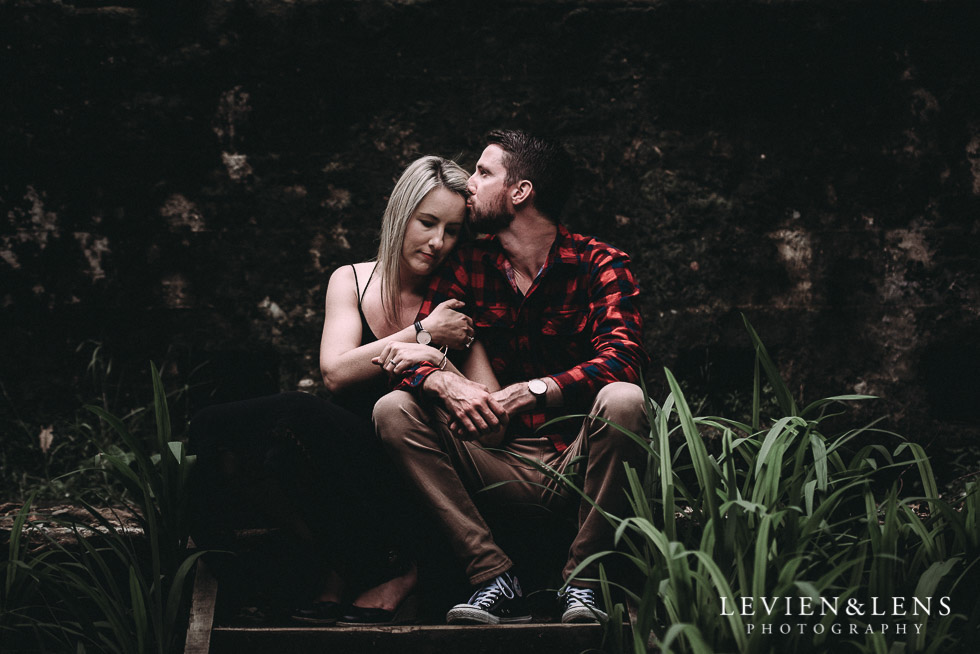 sitting- forehead kiss - Karangahake George engagement | couples photo shoot {Auckland-Waikato wedding photographer}