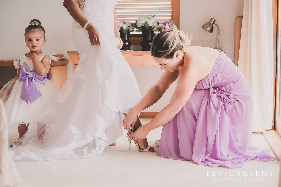 bride getting ready - shoes on - Formosa wedding Golf Resort {Auckland weddings photographer}