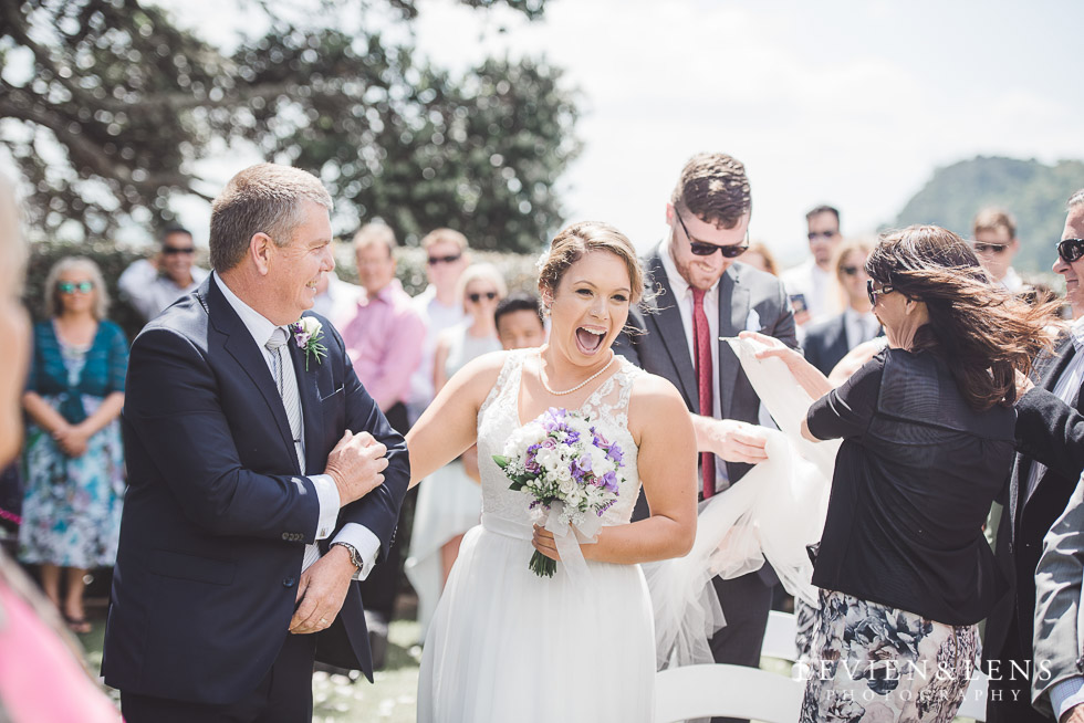 father and bride fun moment - ceremony- Pompallier Gardens - The Duke of Marlborough Hotel - Russel wedding {Northland-New Zealand weddings photographer}