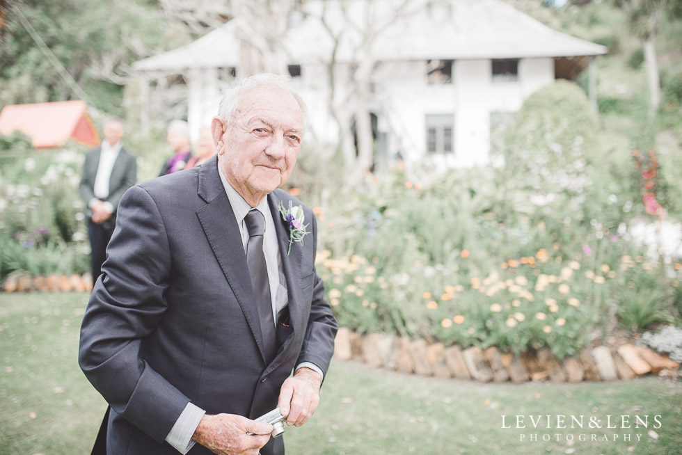 grandfather - after ceremony - The Duke of Marlborough Hotel - Russel wedding {Northland-New Zealand weddings photographer} Pompallier Garden