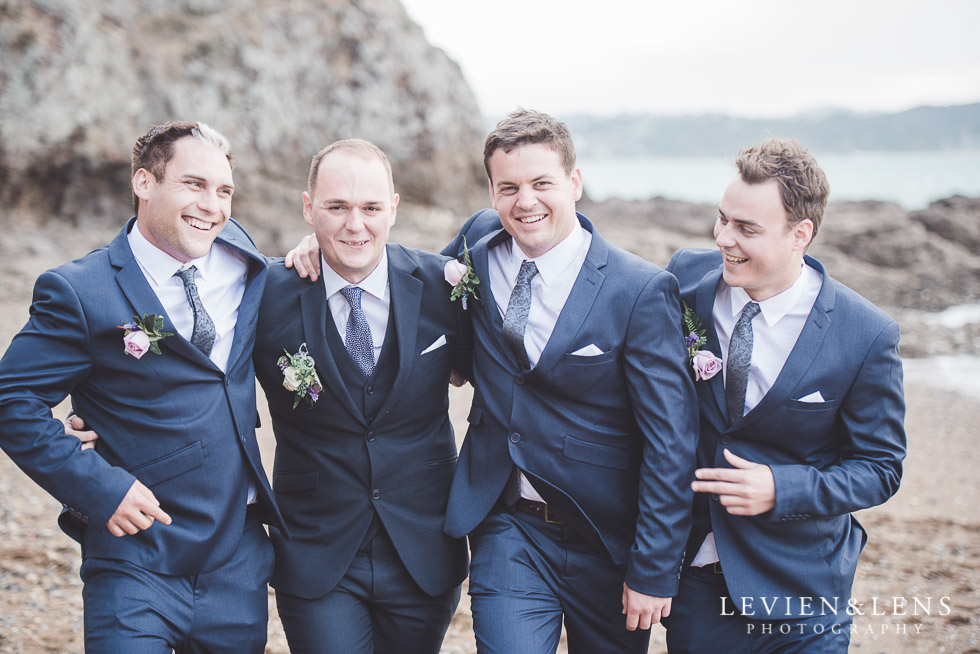groom with groomsmen - beach - The Duke of Marlborough Hotel - Russel wedding {Northland-New Zealand weddings photographer}