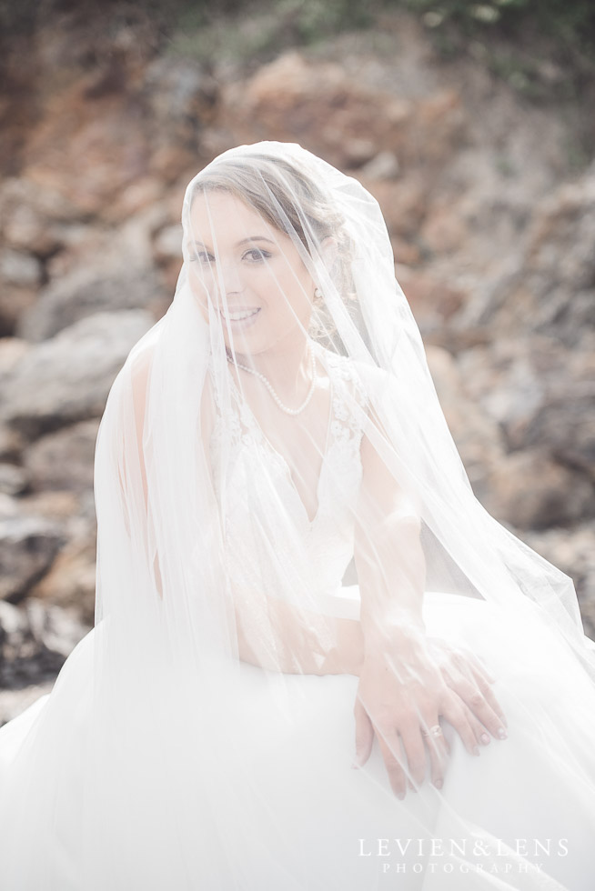 bridal portraiture - bride under veil - The Duke of Marlborough Hotel - Russel wedding {Northland-New Zealand weddings photographer} beach