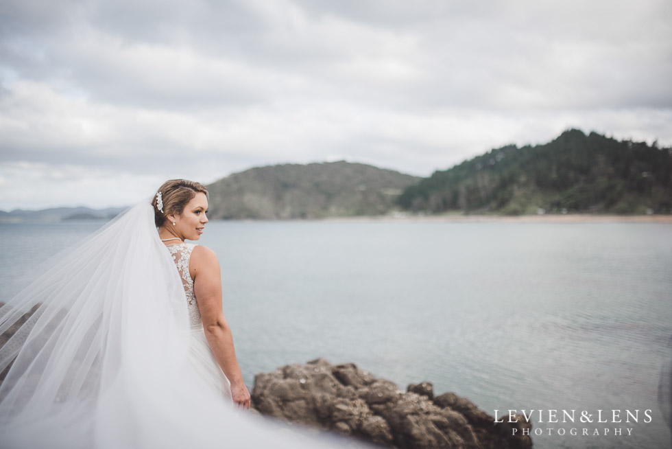 bride with flying veil - The Duke of Marlborough Hotel - Russel wedding {Northland-New Zealand weddings photographer}