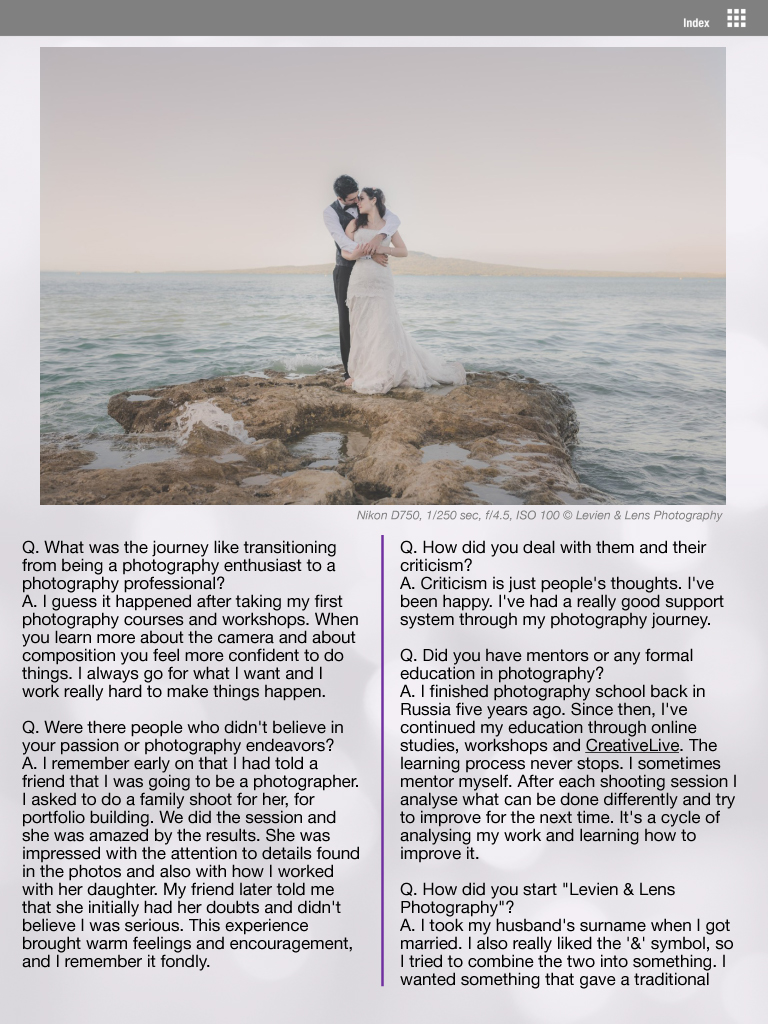 interview with wedding photographer - Levien & Lens photography