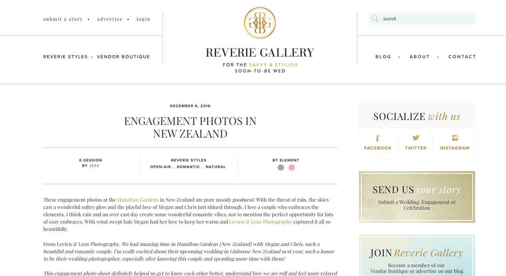 publication in Riverie Gallery - New Zealand wedding-engagement photographer