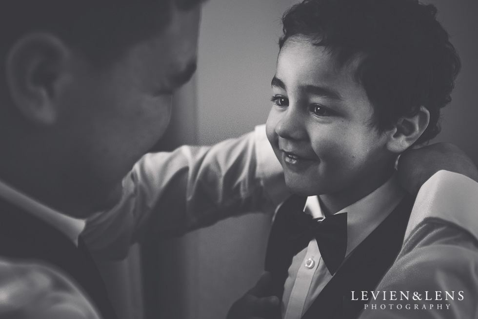 groom with boy - getting ready - NZ wedding photographer