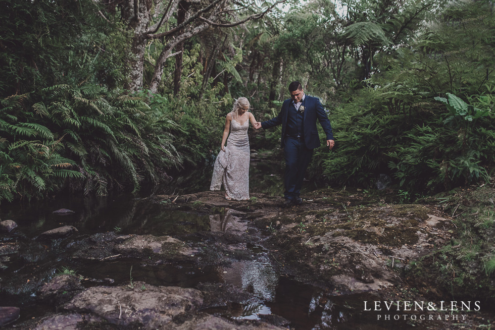 bride and groom walking - Liddington Gardens - Kerkeri Northland {NZ destination wedding photographer}