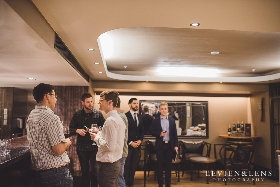 grooms at cellar - Trish Peng Christmas Bridal High Tea - Sofitel Viaduct Hotel {Auckland wedding photographer}