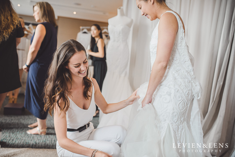 dress fitting - Trish Peng Christmas Bridal High Tea - Sofitel Viaduct Hotel {Auckland wedding photographer}