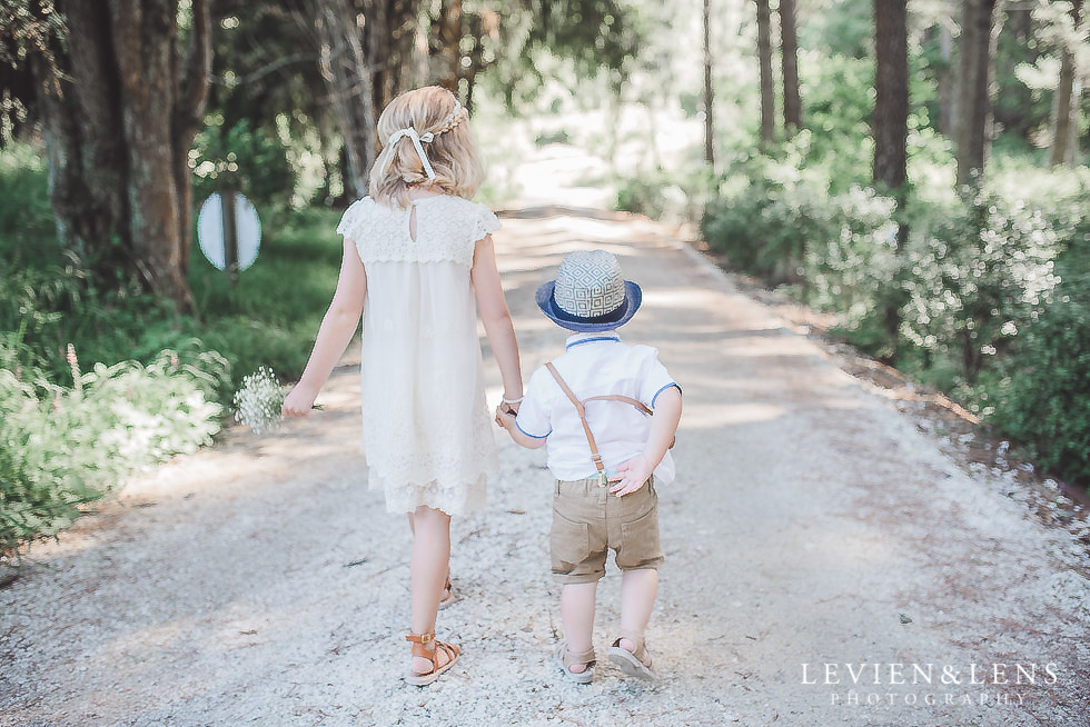 kids walking in forest - Old Forest School Vintage Venue {Tauranga - Bay of Plenty wedding photographer}