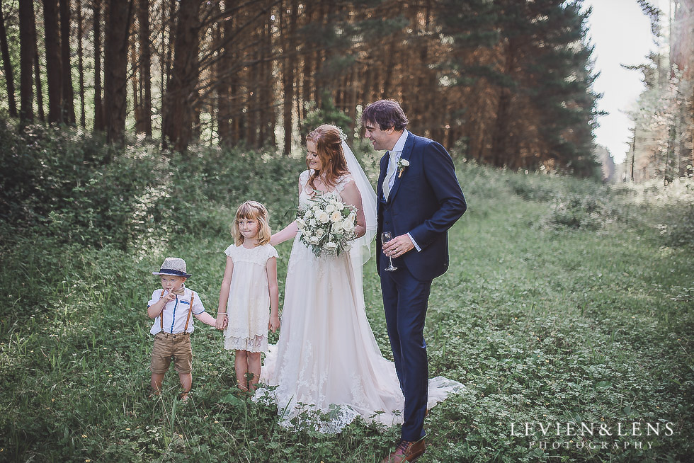 bride and groom with flower girl and ring bearer - Old Forest School Vintage Venue {Tauranga - Bay of Plenty wedding photographer}