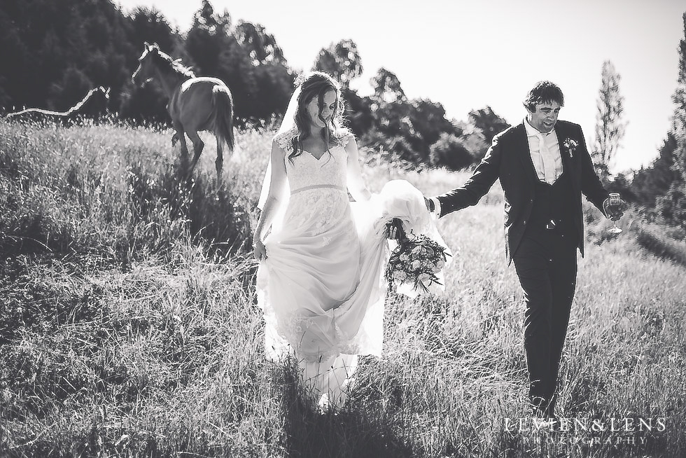bride and groom with horses - Old Forest School Vintage Venue {Tauranga - Bay of Plenty wedding photographer}