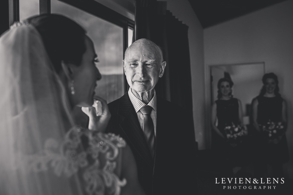 bride with father getting ready - NZIPP iris Awards - Levien and Lens Photography -Auckland wedding photographer