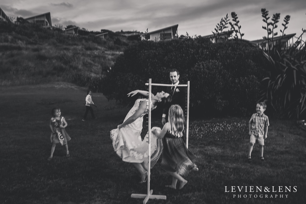 bride and groom with kids activities - Wedding Anniversary {Auckland wedding - photographer} Castaways