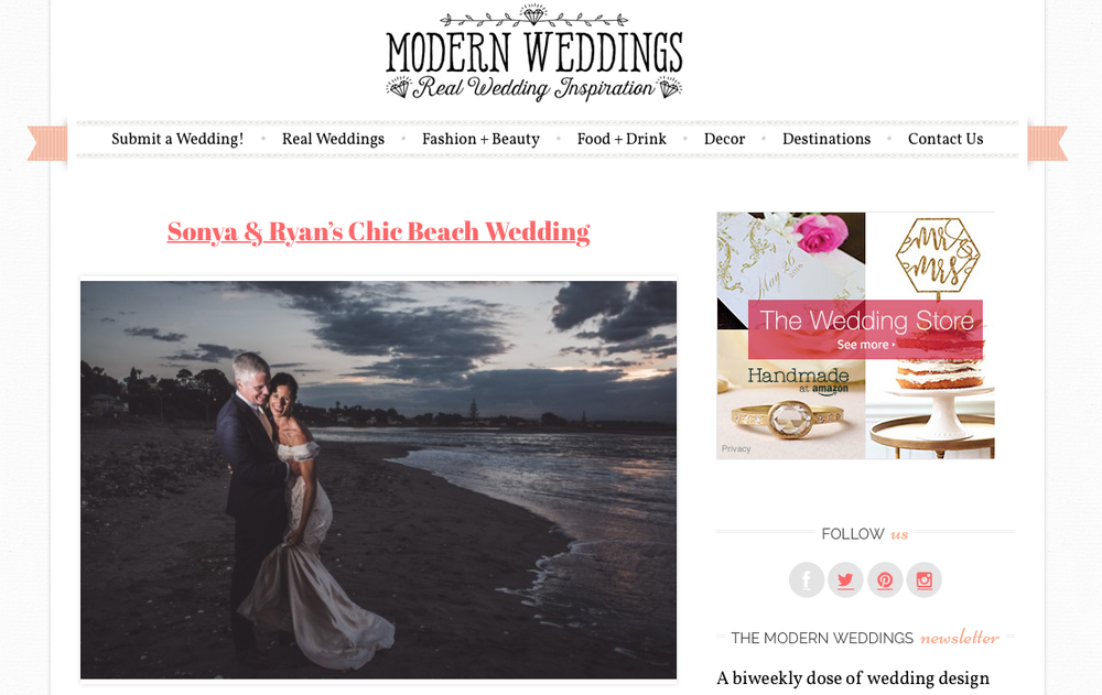 NZ Chic Beach Wedding published in Modern Weddings {Auckland-Hamilton-Tauranga photographers}