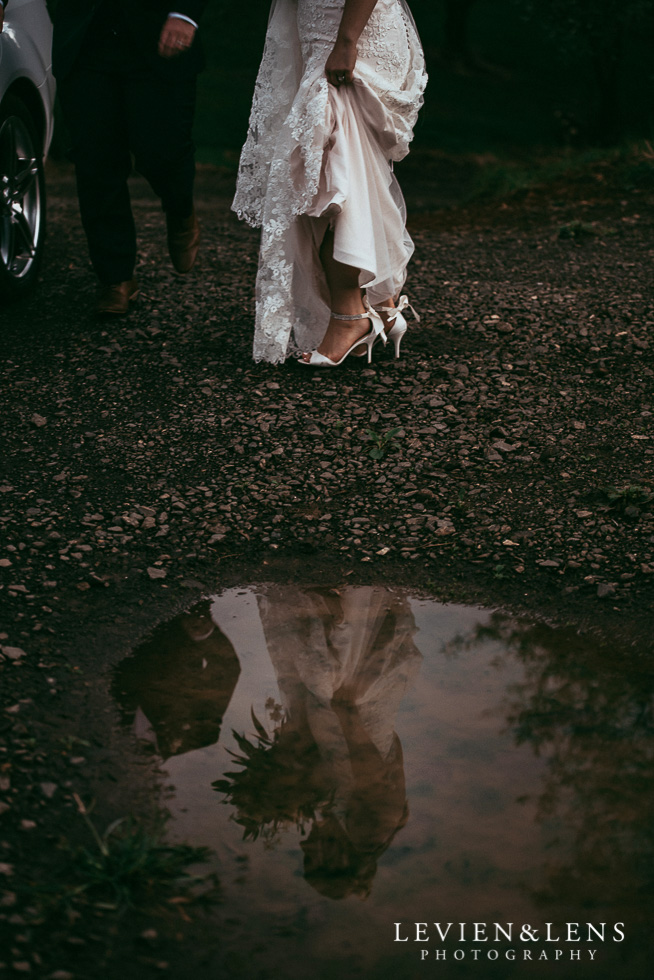 reflection bride in the puddle {Auckland wedding photographers NZ}