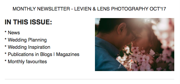 Auckland wedding photographer Newsletter - Levien & Lens photography