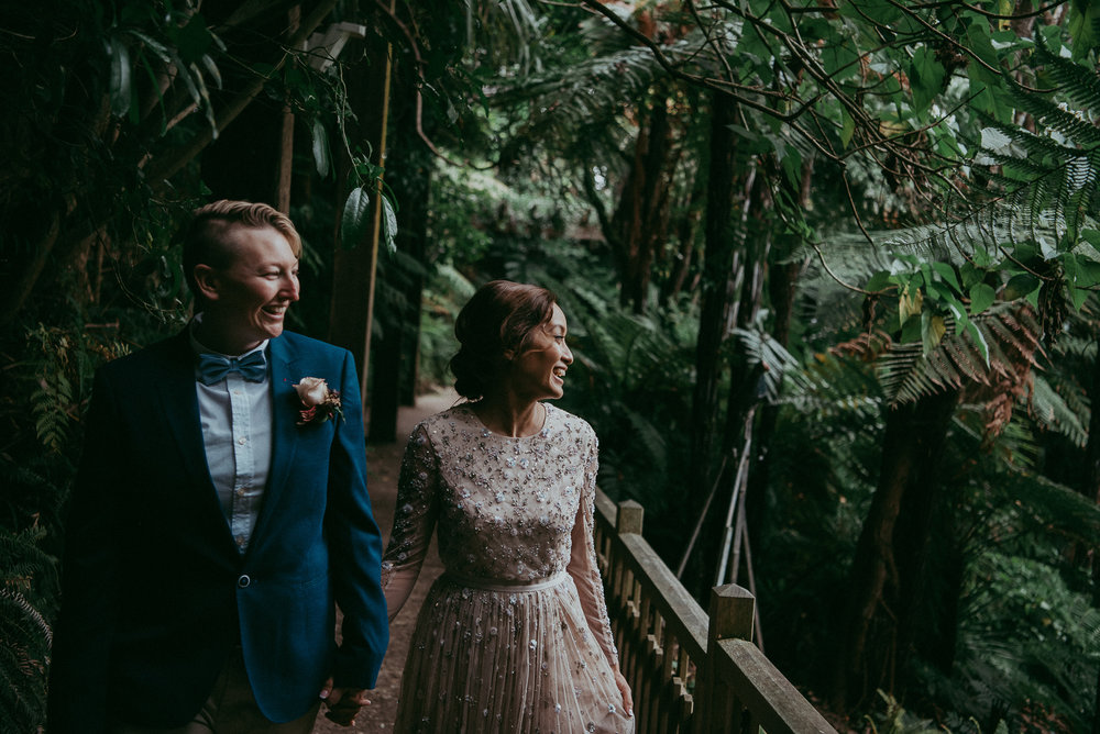 Auckland City WEDDING - Domain {New Zealand elopement-weddings photographers}