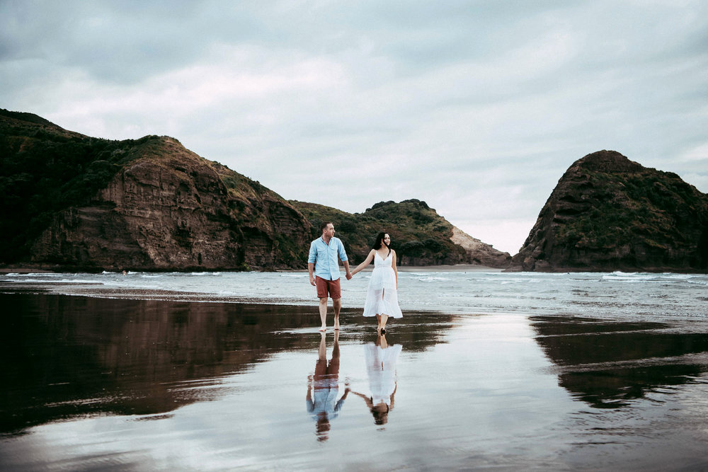 Silvia & Chris , Piha Beach pre-wedding photo shoot