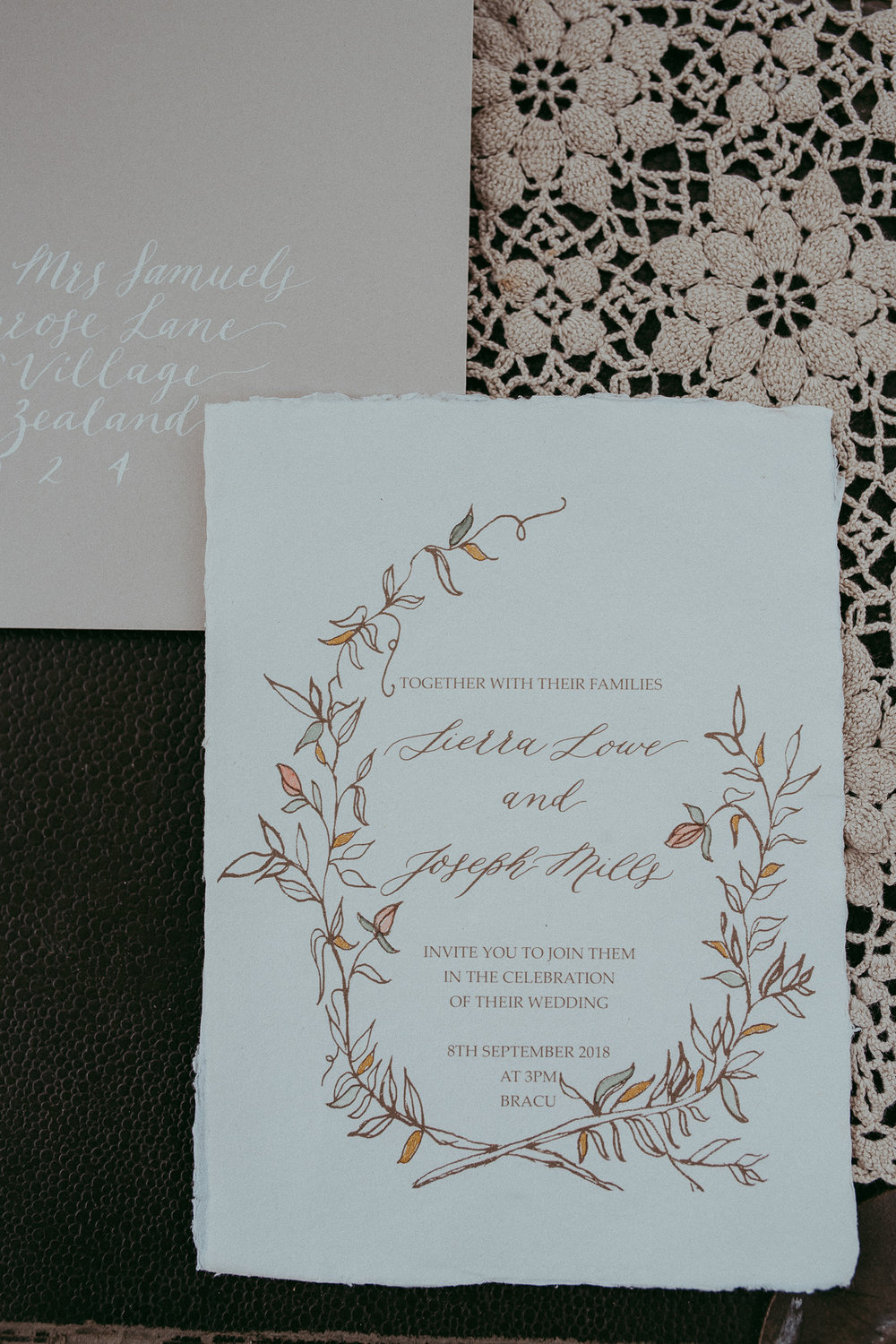 Inkberry calligraphy - image by Levien and Lens photography - Auckland Wedding photographers
