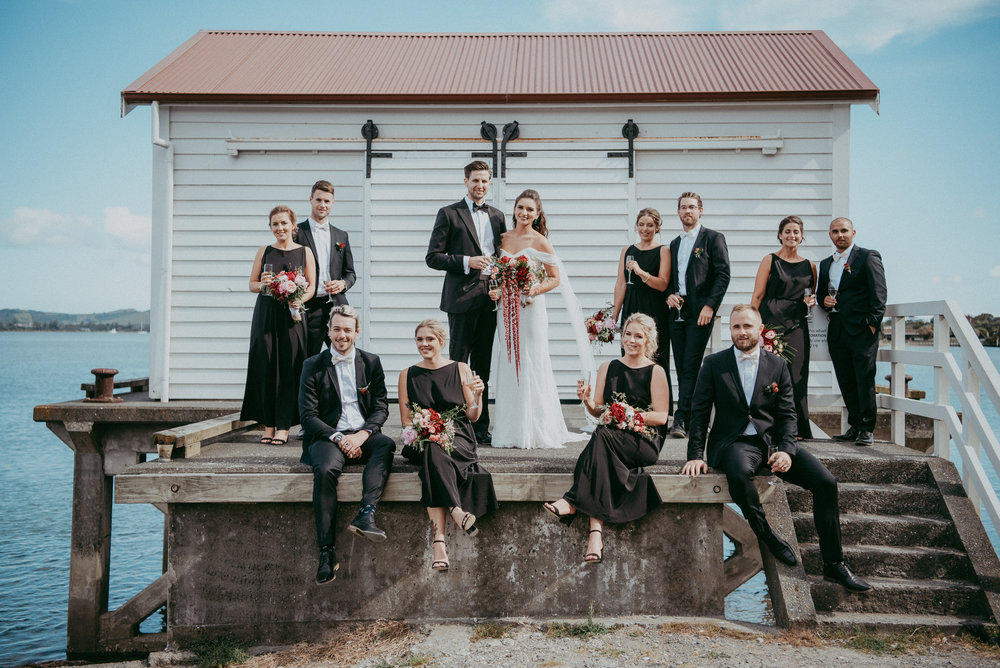 Alexandra & James with bridal party - Big Omaha Wharf