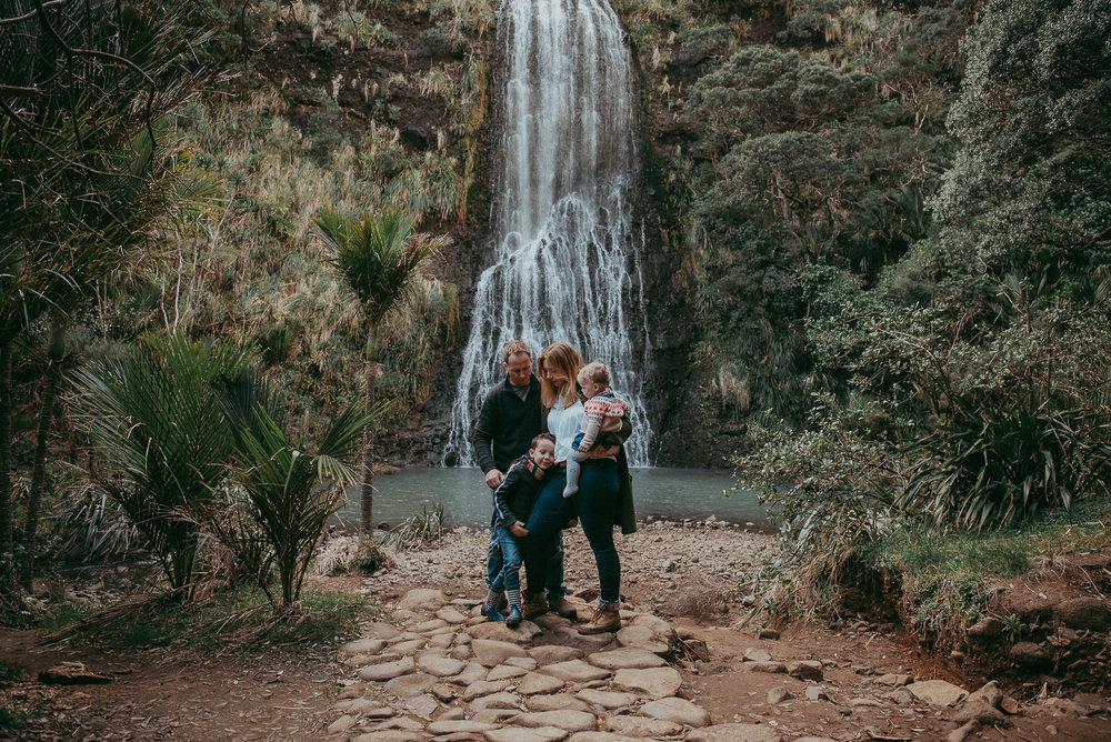 Auckland family beach | waterfall photo shoot {New Zealand kids-newborn photographers}