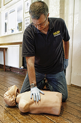 Stuart demonstrating basic life support