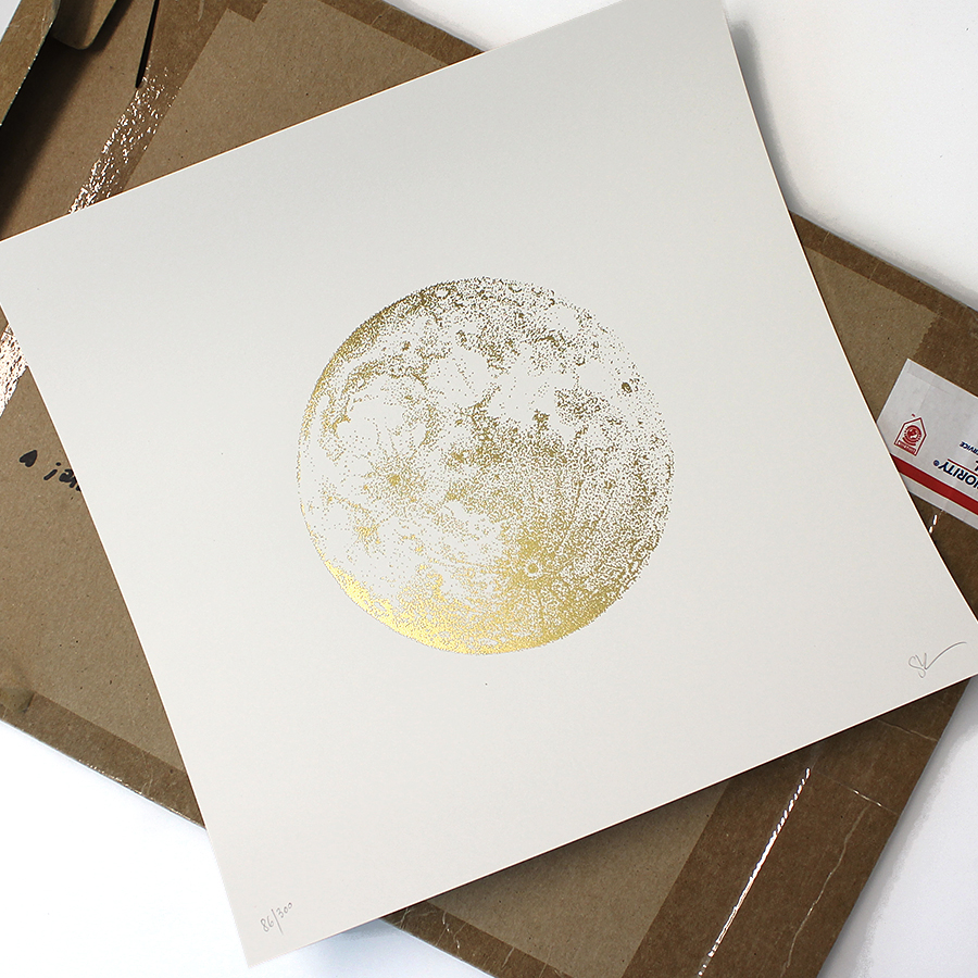 Gold Full Moon Print by Sabrina Kaici