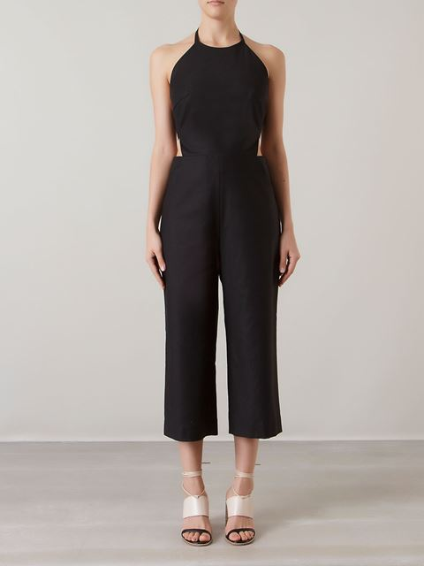 ANDREA MARQUES cut out details side slim pocket jumpsuit