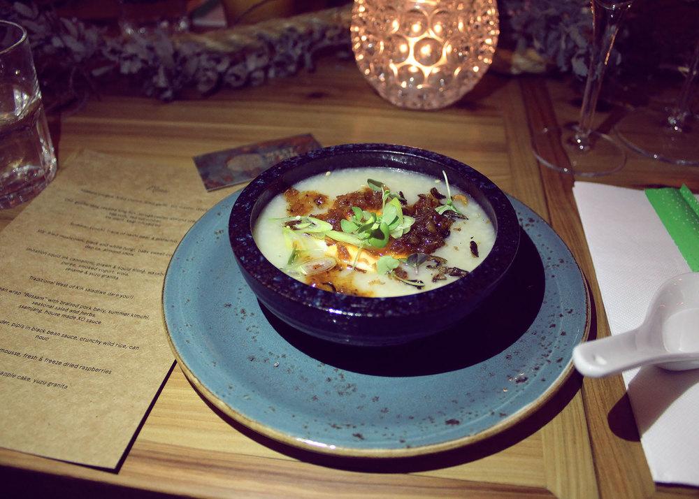 Abalone congee, fried shallot, fried garlic, XO, master stock egg